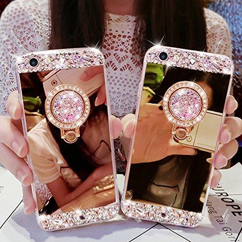 LAPOPNUT für iPhone 5 5S SE Hülle Glitzer Mädchen Rose Gold Handyhülle 180 Grad Ständer Diamant Glanz Strass Funkeln Bling Glitter Pink Schutzhülle Harte PC Spiegel Case Girl (5 Bling Iphone Case Diamant)