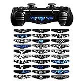 eXtremeRate 30Pcs Kit de LED Autocollants Light Bar en Vinyle Réutilisable pour Playstation 4 PS4 Slim Pro Manette Contrôleur - Crâne Cool