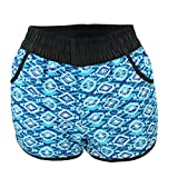 Badeshorts Damen Boardshorts Strandshorts Beach Shorts Kurz Lässige Sommershorts Hotpants (38 / M, Muster 3 - Zickzack Blau / Weiß)
