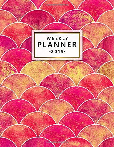 Weekly Planner 2019: Cute Red Yellow Pink Mermaid Scale Daily and Weekly 2019 Planner. Pretty Golden Ocean Waves Yearly Monthly Organizer, Agenda, Journal and Notebook. por Nifty Notes