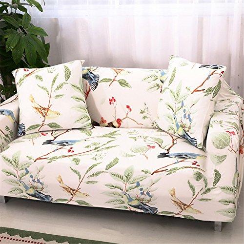 Getmorebeauty Stretch-Sofabezug, elastischer Stoff, floraler Druck mit Vogel-Muster, Picapica, 3-Sitzer