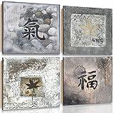 Feeby Frames, Cuadro de pared - 4 partes - Cuadro decorativo, Cuadro impreso, Deco Panel, 80x80cm,...
