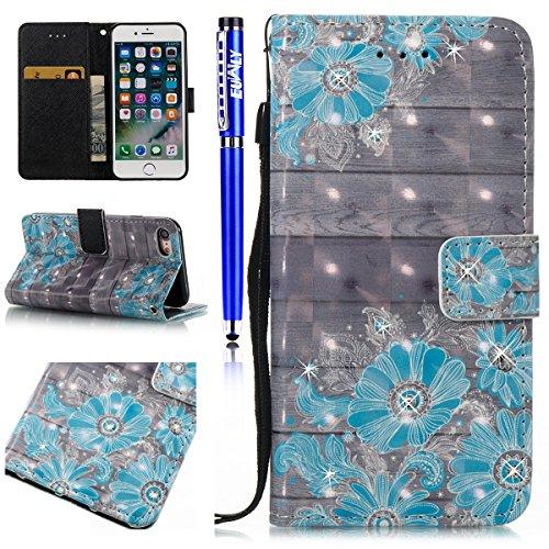 EUWLY Protettiva Portafoglio Custodia in Premium PU Pelle per iPhone 7/iPhone 8 (4.7), 3D Dipinto Pattern Disegno PU Leather Wallet Custodia Bling Brillante Diamante Sparkling Strass Glitter Shell Co Fiore Blu