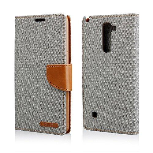 """Stylisches Bookstyle Handytasche Flip Case für """"LG Stylus 2 (K520)"""" Handy Schutz Hülle Etui Schale Cover Book Case grau-braun"""