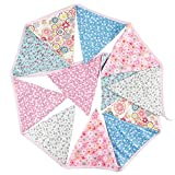Awakingdemi Triangle Pennant Banner,3.2M 12 Flags Fabric Banner Pennant Wedding Birthday Party Hanging Decoration As Picture