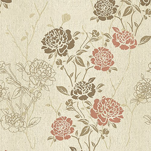 murando - Vlies Tapete - Deko Panel Fototapete - Wandtapete - Wand Deko - 10 m Tapetenrolle - Mustertapete - Wandtapete - modern design - Dekoration - Blumen Streifen o-A-0001-j-b