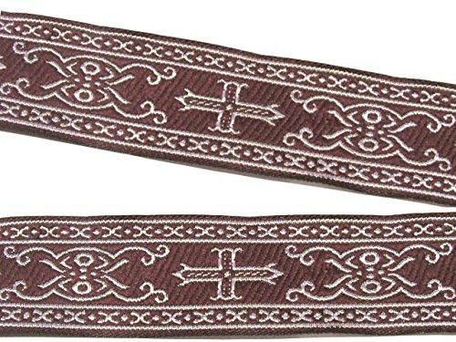 10m Kreuz Borte Webband 35mm breit Farbe: Bordeaux-Silber von 1A-Kurzwaren SM05-bosi-35 (Borte Kreuz)