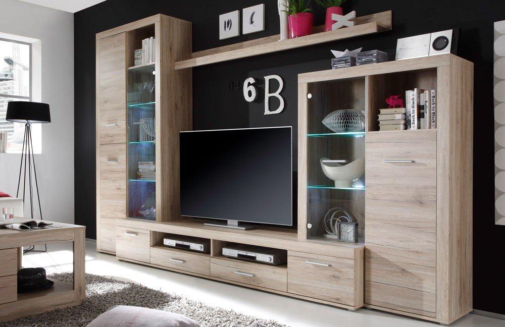 Parete con illuminazione led per tv, ideale per soggiorno moderno.