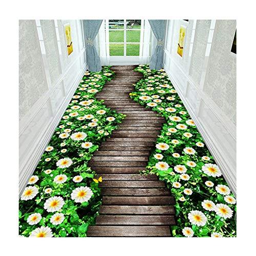 Läufer Pads (3D Teppich Teppiche Flur Läufer Pflanze Muster Tür Mats Gang Treppe Pad Schmutz Stopper Anti-Rutsch Waschbar Strapazierfähig 6mm (Farbe : C, größe : 80x200cm))