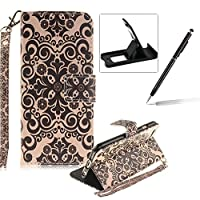 Strap Leather Case for iPhone 6S Plus,Flip Wallet Cover for iPhone 6 Plus,Herzzer Retro Flower Pattern Magnetic Closure Purse Folio Smart Stand Cover with Card Cash Slot Soft TPU Inner Case for iPhone 6 Plus/6S Plus 5.5 inch + 1 x Free Black Cellphone Kickstand + 1 x Free Black Stylus Pen