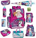 Disney die Eiskönigin Schulranzen Set 10tlg. Sporttasche, Schultüte 85cm, Regen/Sicherheitshülle von Familando PL14 Frozen
