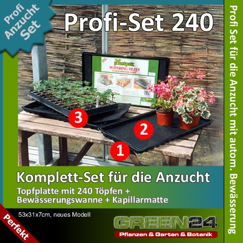 Anzucht-Set 240-PRO - automatische Bewässerung. 240er Anzuchtplatte + Wasserwanne + Kapillarmatte für Anzucht von Saatgut und Stecklingen - Anzuchtschalen / Anzuchtkasten