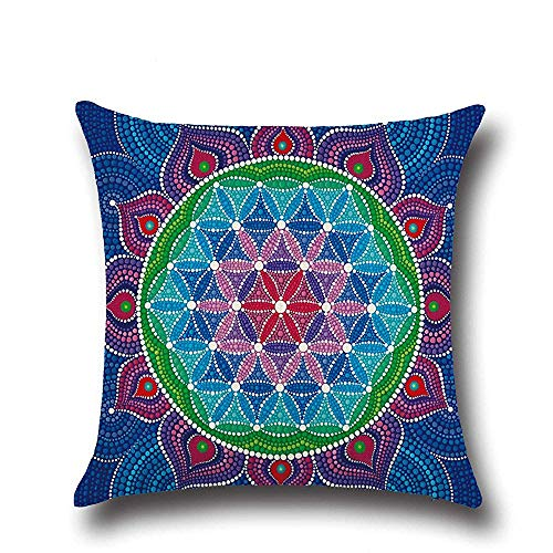 Thick Cushion Covers Southeast Asian Style Mandala Polyester Plush Fabrics Double-Sided Square Pillow Case Cushion for Home Chair Sofa Bed Shop Bar Club Car Office Decor (Blue 02)