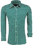 Barbons Trachen Herren Hemd -Kariert- Karohemd- Modern - Fit - Hemden für Freizeit, Party Business und Oktoberfest (L, Grün-schwarz)
