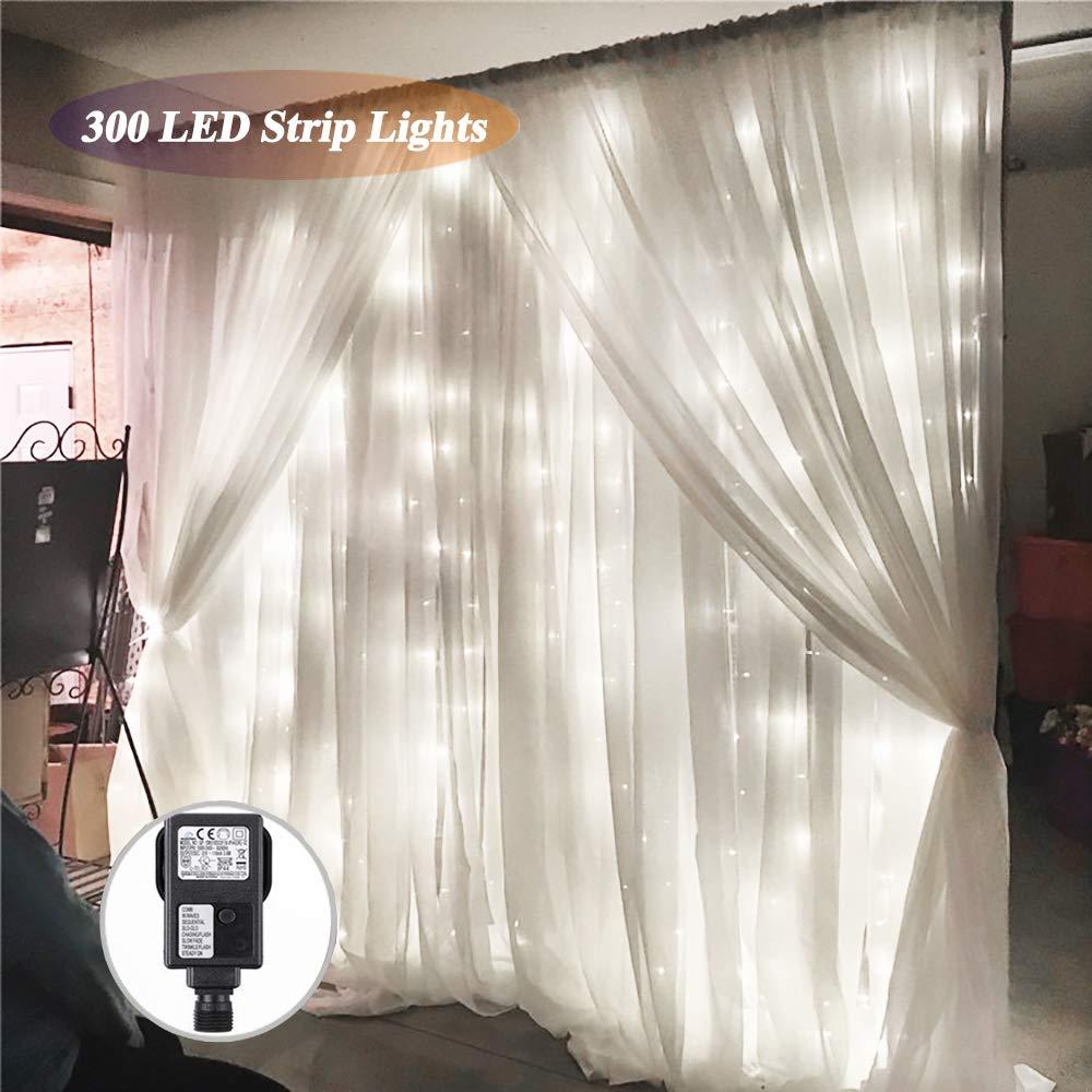 Cortina LED blanca, SOLMORE 3m x 3m con 8 modos (Blanco)