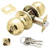 Wolfpack - Deurknop met sleutel beide zijden messing.