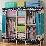 Olydmsky Faltschrank,Einfache Garderobe Oxford Tuch Garderobe Verdicktes Stahlrohr Doppel Tuch Montage Faltender Kleiderschrank