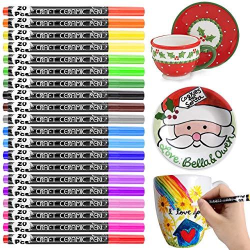Porzellan Pinselstift, RATEL 20 Farben Ungiftig Kein Ausbluten Porzellanfarbe Permanent wasserdicht Acrylstifte Marker Stifte, Spülmaschinenfest Wasserfest Paint Marker für DIY Becher,Porzellan,Teller