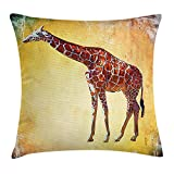 Giraffe Throw Pillow Cushion Cover, Vintage Style Illustration Watercolor African Animal Wildlife Safari Zoo Retro Artwork, Decorative Square Accent Pillow Case,Multi 16X16 inches