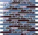 30cm x 30cm Matte klare und gebrochener Glas optik und Stein Mosaik Fliesen in blau und braun (MT0156)