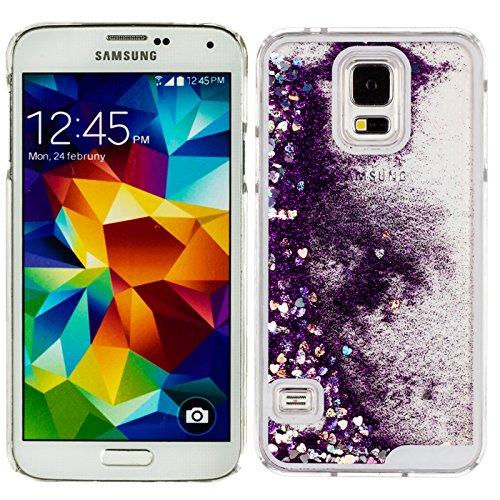 Transparent 3D Kristall klar Fall mit Shinny Glitzer Bling Quicksand Liquid funkelt und Love Hearts Fließende Hard Schutzhülle Cover für Samsung Galaxy S5G900 Glitter Heart: Purple