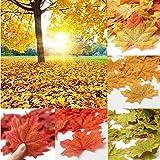 Sharplace 200 Stück Künstliche Herbst-Ahornblätter Ahorn Laub Blätter Tisch-Streuung für Hochzeit & Herbst-Party - Orange, 8cm