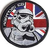Star Wars UK Flagge Schwarz Bordüre bestickt oder Aufnäher Aufbügler Bügelbild 7,5cm