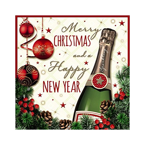 Me to You Up Close 3D Frohe Weihnachten und Happy New Year Grußkarte Champagner & Ornaments