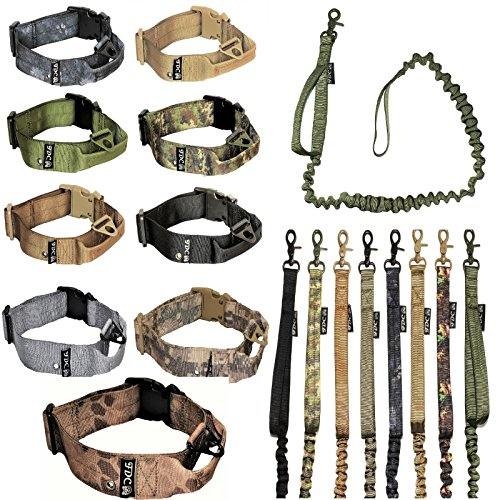FDC Hund Tactical Halsband mit Leine Bungee Griff Heavy Duty Training Military Armee Molle Breite 1,5in Kunststoff Schnalle Tag Loch Mittel groß M, L, XL, XXL, L: Neck 14