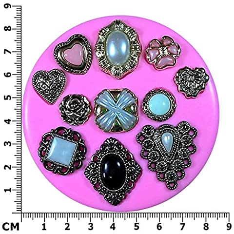 Vintage Victorian Brooches Diamond, Teardrop, Oval, Heart Silicone Mould Mold for Cake Decorating Cake Cupcake Toppers Icing Sugarcraft Tool by Fairie Blessings