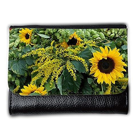 Medium Faux Leather Wallet with card slot // M00238325 Sun Flower Hops Autumn Climber // Medium Size
