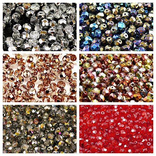 Tschechische Facettierte Glasperlen, Fire-Polished, Rund 6 mm. Sechs Farben. Nur 300 Perlen. Set 6S FP 620 (6FP006 6FP007 6FP008 6FP009 6FP011 6FP012) -