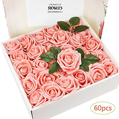 Outuxed 60 Stücke künstliche Blumenkopf Rosenköpfe für Hochzeit zum Basteln oder zur Dekoration(rosa)