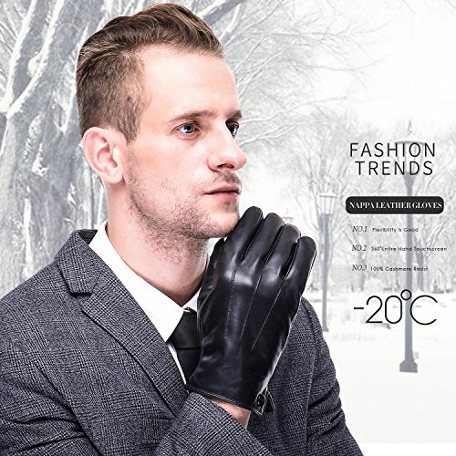 Herren Winter Lederhandschuhe von Harrms, für Touch Screen geeignet, Futter aus Kaschmir, Handschuhe aus echtem Leder
