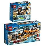 Lego City 2er Set 60163 60165 Küstenwache-Starter-Set + Geländewagen mit Rettungsboot