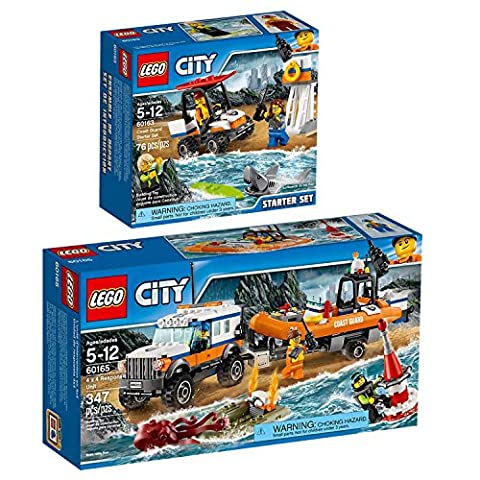 Lego CITY Set en 2 parties 60163 60165 Ensemble de démarrage des gardes-côtes + L'unité d'intervention en 4x4