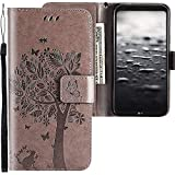 CLM-Tech kompatibel mit LG Q6 Hülle Tasche aus Kunstleder, PU Leder-Tasche Lederhülle, Baum Katze Schmetterlinge grau, PU Leder-Tasche für LG Q6 Lederhülle