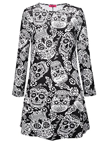 eid Frauen Horror Club tragen Bodycon Longsleeve Swing Mid Dress Kostüme (Beängstigend Prinzessin Kostüme)