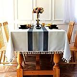 SUNBEAUTY Mantel Mesa Rectangular Antimanchas Algodon Lino con Borlas 140x200 cm Elegante Table Cloth Rectangle Tablecloth pa