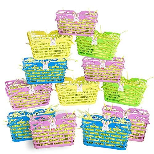 The twiddlers 12 pasqua mini cestini - l 15cm x w 9cm x h 8cm - perfetti per la caccia alle uova di pasqua giochi per bambini, regali e decorazioni per feste, riempire con i giocattoli