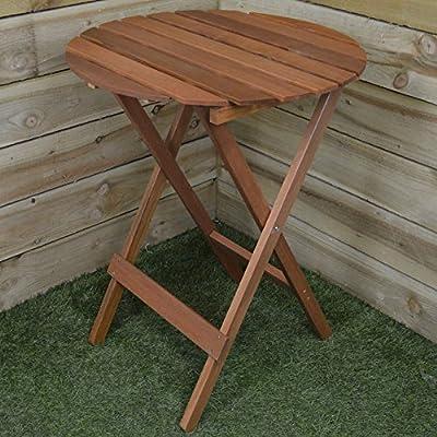 60cm Dia. Outdoor Garden Wooden Furniture Folding Bistro / Dining Table - inexpensive UK light shop.