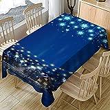 Ansenesna Tischtuch Abwaschbar Blau Sterne Weihnachten Rechteckig Tischdecke Stoff Gartentischdecke Weihnachtlich Deko Für Festlich Party (Blau, 140X180cm)