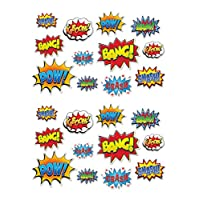 "Beistle 59902 12 Piece Hero Action Sign Cutouts, 6"" to 12.5"", Multicolor"