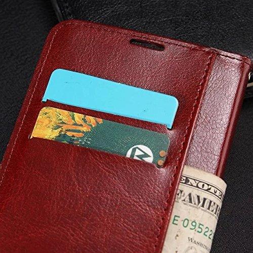 Wkae Case Cover LG G4 PRO Fall feste Folio magnetische Design Flip Brieftasche Stil Fall Farbmuster PU-Leder-Abdeckung Standup-Abdeckungsfall für LG G4 PRO ( Color : Brown , Size : LG G4 PRO ) Red