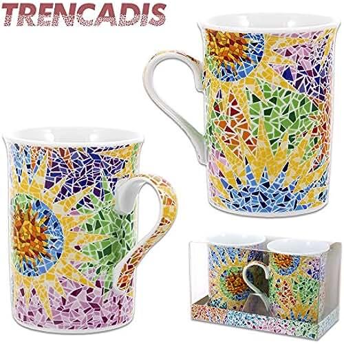 taza del dia de la madre Juego 2 Tazas Diseño Trencadis Gaudi y Elementos (Set 2 Tazas Gaudi)