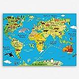 ge Bildet Hochwertiges Leinwandbild XXL - Weltkarte für Kinder - Hellblau - Bild für kinderzimmer - 100 x 70 cm Einteilig | Wanddeko Wandbild Wandbilder Wohnzimmer deko Bild | 2202 K