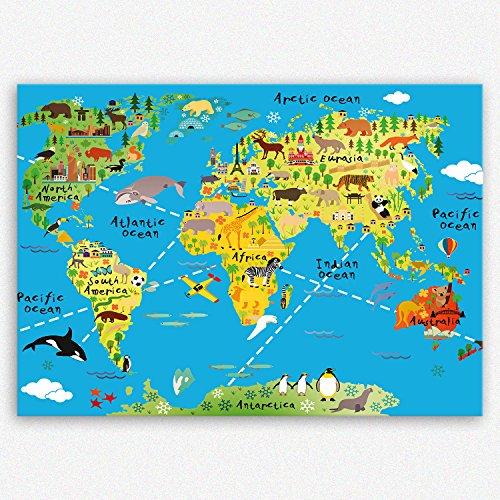 ge Bildet Hochwertiges Leinwandbild XXL - Weltkarte für Kinder - Hellblau - Bild für kinderzimmer - 100 x 70 cm Einteilig   Wanddeko Wandbild Wandbilder Wohnzimmer deko Bild   2202 K
