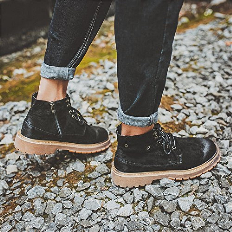HL-PYL-coreana de alta botas botas botas botas Journeyman Retro Martin hombres botas cortas,43,negro  -