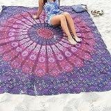 "Toalla de playa de chifón de impresión pepeng Oversized, 59 ""Extra Grande Redondo indio Mandala Boho Toallas de playa para verano vacaciones de viaje (Ombre Blue)"
