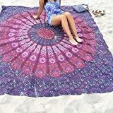 Pepeng – telo da spiaggia oversize con stampa a chiffon, 149,9 cm extra large, rotondo, mandala indiano, boho, spiaggia, asciugamani per estate, viaggio, vacanza (ombre blu) Purple